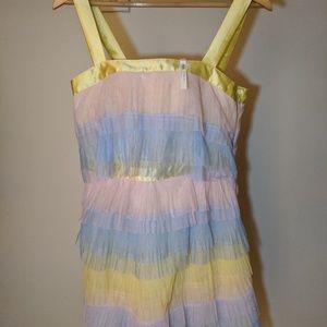 ASOS DESIGN Petite Tiered Mini Dress In Color Bloc